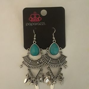 New Silver and Turquoise Color Chandelier Earrings